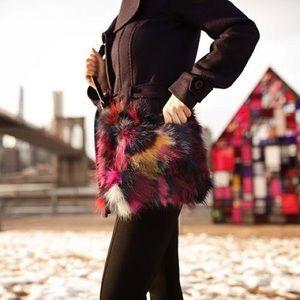 Sondra Roberts patchwork Multi Fur Cross Body, NWT